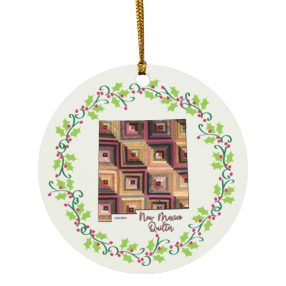 New Mexico Quilter Christmas Circle Ornament