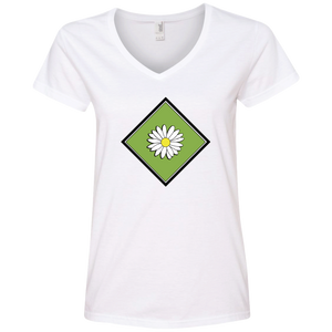 Daisy Field Ladies V-Neck T-Shirt