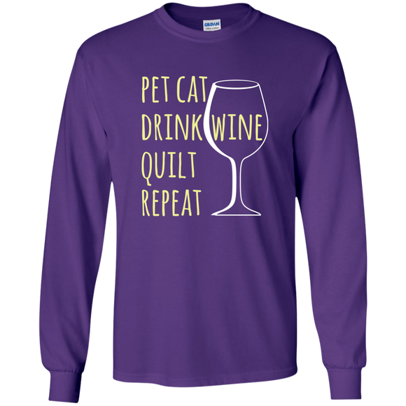 Pet Cat-Drink Wine-Quilt LS Ultra Cotton T-Shirt