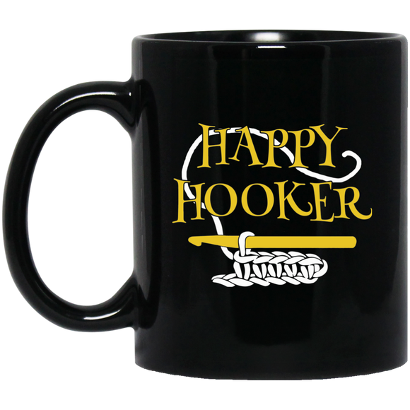 Happy Hooker Black Mugs