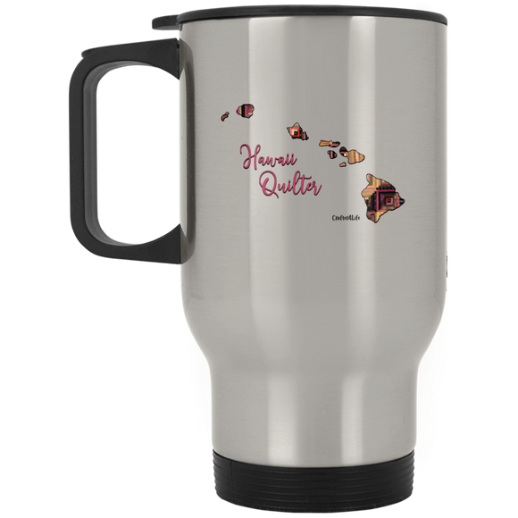 Hawaii Quilter Silver Stainless Travel Mug