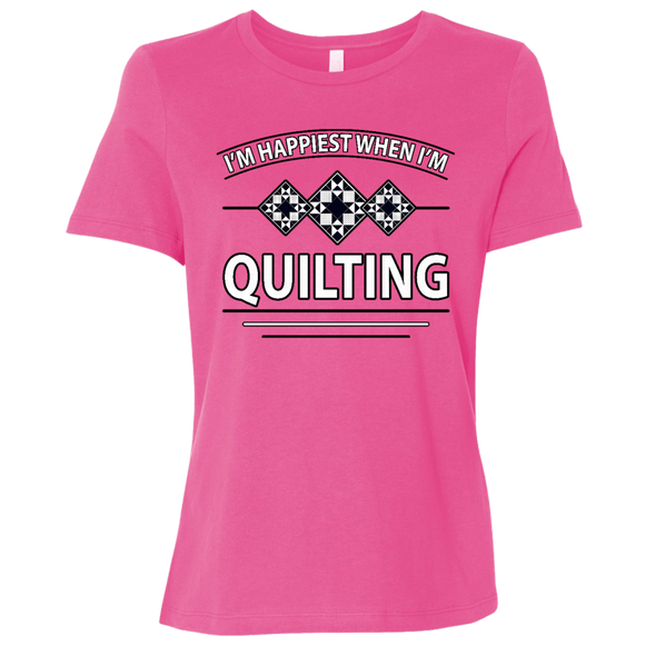 I'm Happiest When I'm Quilting Ladies Relaxed Jersey Short-Sleeve T-Shirt