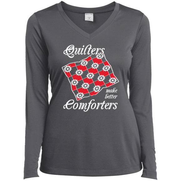 Quilters Make Better Comforters Ladies Long Sleeve V-neck Tee - Crafter4Life - 1