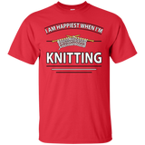 I Am Happiest When I'm Knitting Custom Ultra Cotton T-Shirt - Crafter4Life - 2