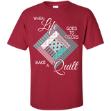 Make a Quilt (turquoise) Custom Ultra Cotton T-Shirt - Crafter4Life - 5