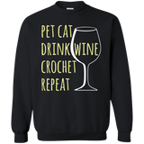 Pet Cat-Drink Wine-Crochet Crewneck Pullover Sweatshirt