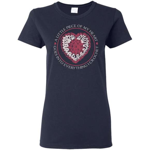 Piece of My Heart (Crochet) Ladies Cotton T-Shirt