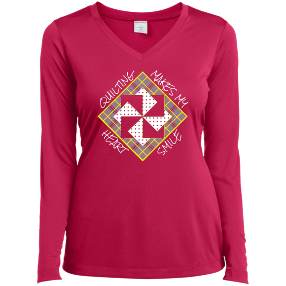 Quilting Makes My Heart Smile Ladies LS Performance V-neck Tee
