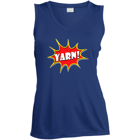 Yarn! Comic Starburst Ladies Sleeveless Moisture Absorbing V-Neck