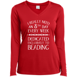 8th Day For Beading Ladies LS Performance V-Neck T-Shirt
