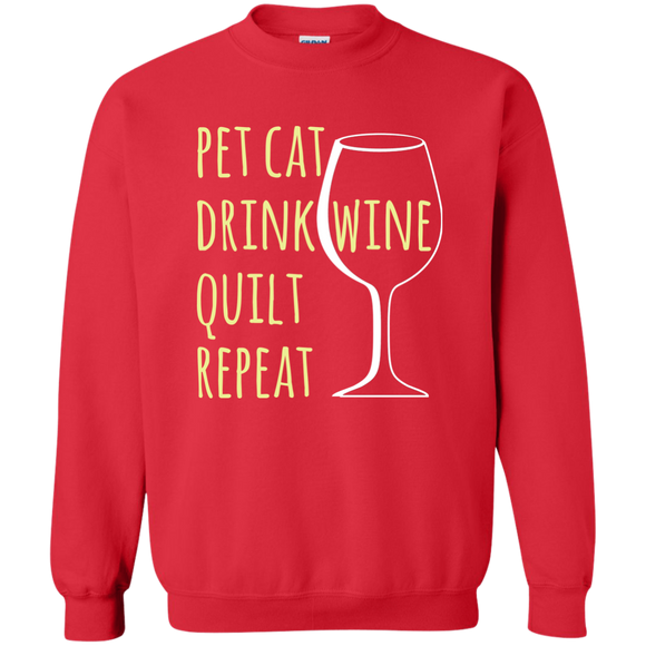 Pet Cat-Drink Wine-Quilt Crewneck Pullover Sweatshirt