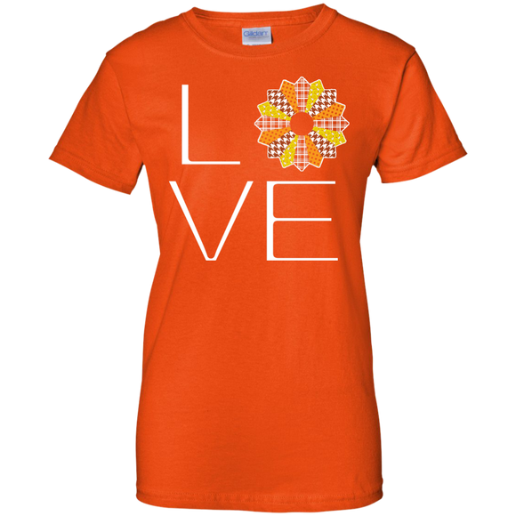 LOVE Quilting (Fall Colors) Ladies Custom 100% Cotton T-Shirt - Crafter4Life - 1