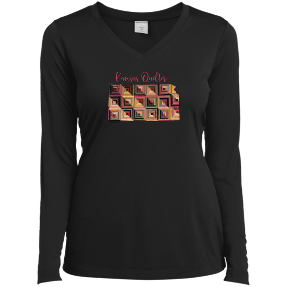 Kansas Quilter Ladies' LS Performance V-Neck Shirt