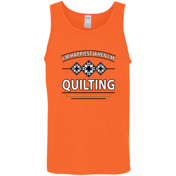 I'm Happiest When I'm Quilting Cotton Tank Top