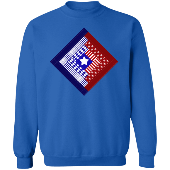 Patriotic Log Cabin Square Crewneck Pullover Sweatshirt