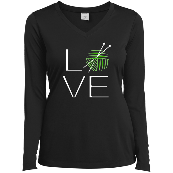 LOVE Knitting Ladies LS Performance V-Neck T-Shirt