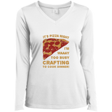 Pizza Night Ladies LS Performance V-Neck T-Shirt
