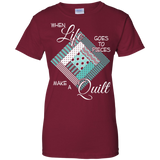 Make a Quilt (turquoise) Ladies Custom 100% Cotton T-Shirt - Crafter4Life - 3