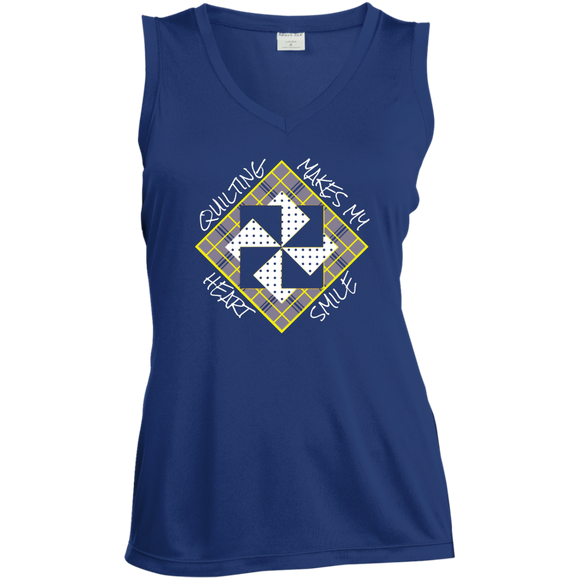 Quilting Makes My Heart Smile Ladies Sleeveless V-Neck