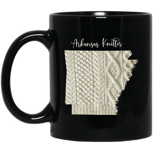 Arkansas Knitter Black Mugs
