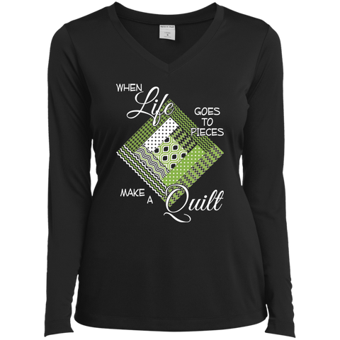 Make a Quilt (Greenery) Ladies' LS Performance V-Neck T-Shirt