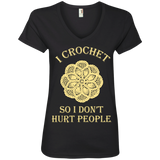 I Crochet So I Don't Hurt People Ladies V-neck Tee - Crafter4Life - 3