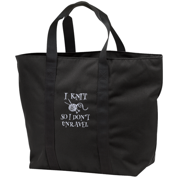 I Knit So I Don't Unravel All Purpose Embroidered Cloth Tote Bag