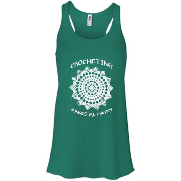 Crocheting Makes Me Happy Flowy Racerback Tank