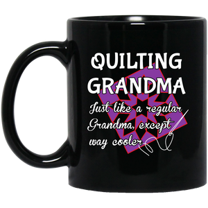 Quilting Grandma Black Mugs