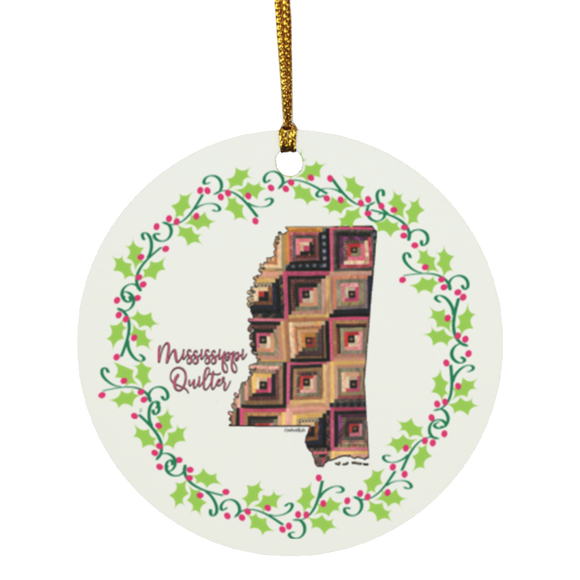 Mississippi Quilter Christmas Circle Ornament