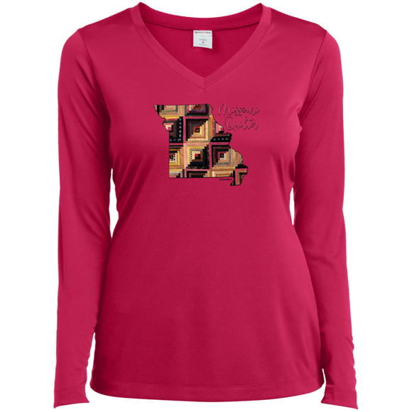 Missouri Quilter Ladies' LS Performance V-Neck Shirt