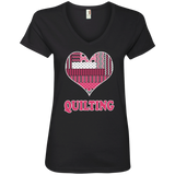 Heart Quilting Ladies V-neck Tee - Crafter4Life - 2