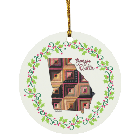 Georgia Quilter Christmas Circle Ornament