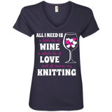 All I Need Is Wine-Love-Knitting Ladies V-neck Tee - Crafter4Life - 1