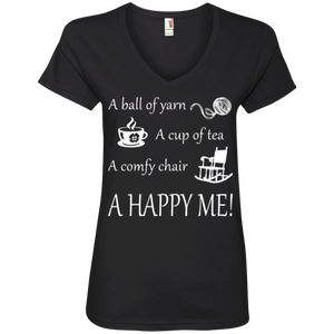 A Happy Me Ladies V-neck Tee - Crafter4Life - 1