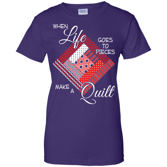 Make a Quilt (red) Ladies Custom 100% Cotton T-Shirt - Crafter4Life - 1