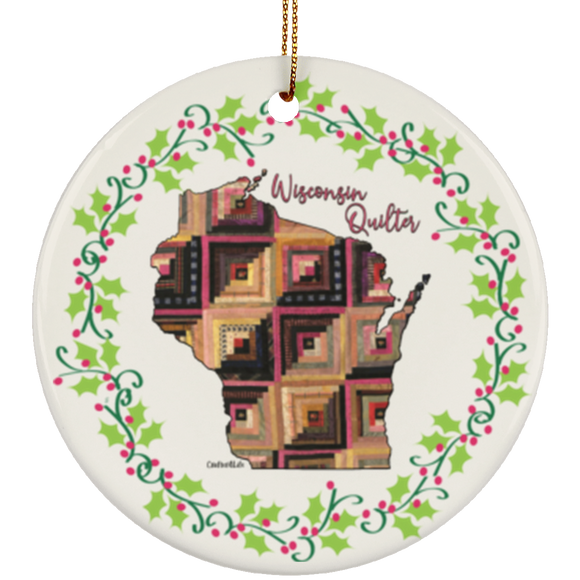 Wisconsin Quilter Christmas Ornament