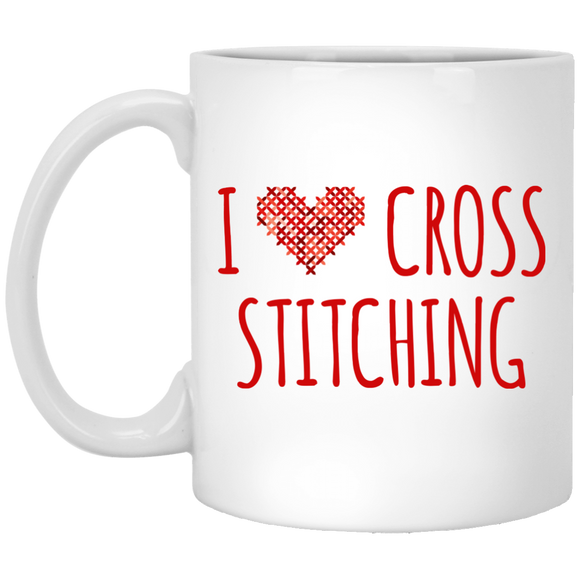 I Heart Cross Stitching White Mugs