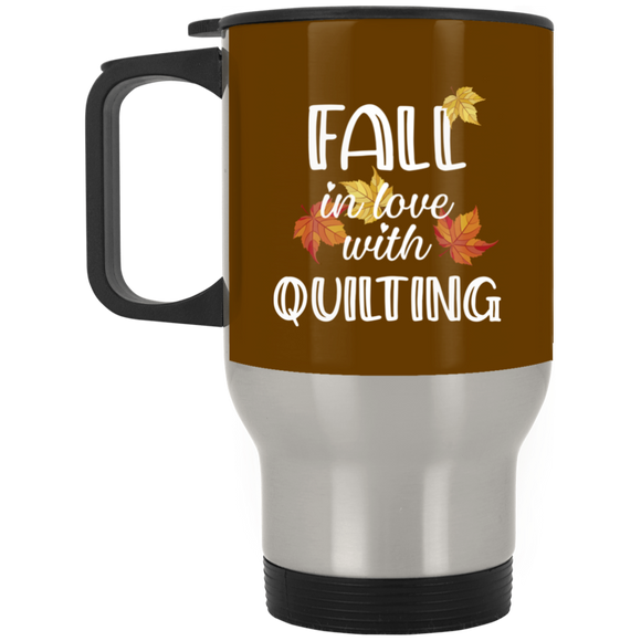 Fall in Love with Quilting Silver Stainless Travel Mug