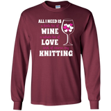 All I Need is Wine-Love-Knitting Long Sleeve Ultra Cotton Tshirt - Crafter4Life - 10