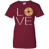 LOVE Quilting (Fall Colors) Ladies Custom 100% Cotton T-Shirt - Crafter4Life - 3