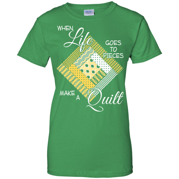 Make a Quilt (yellow) Ladies Custom 100% Cotton T-Shirt - Crafter4Life - 1