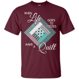 Make a Quilt (turquoise) Custom Ultra Cotton T-Shirt - Crafter4Life - 9