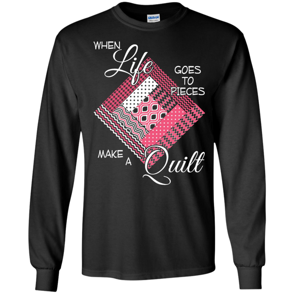 Make a Quilt (pink) Long Sleeve Ultra Cotton T-Shirt - Crafter4Life - 1