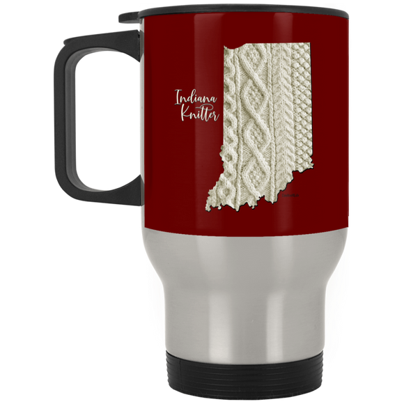 Indiana Knitter Silver Stainless Travel Mug