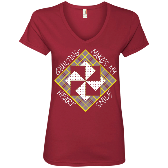 Quilting Makes My Heart Smile Ladies V-Neck Tee