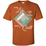 Make a Quilt (turquoise) Custom Ultra Cotton T-Shirt - Crafter4Life - 8