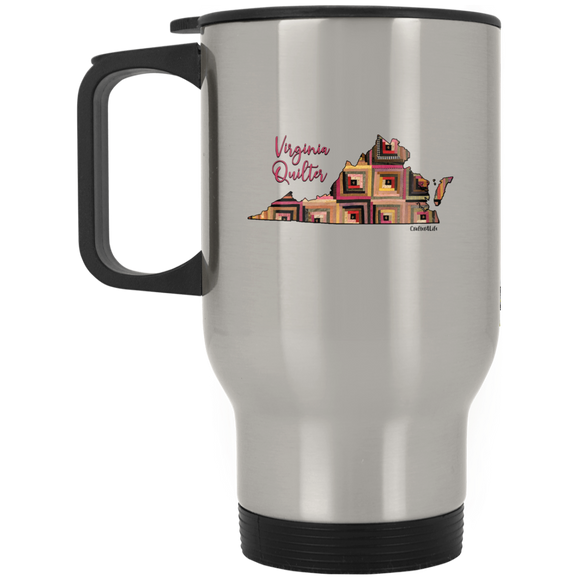 Virginia Quilter Silver Stainless Travel Mug