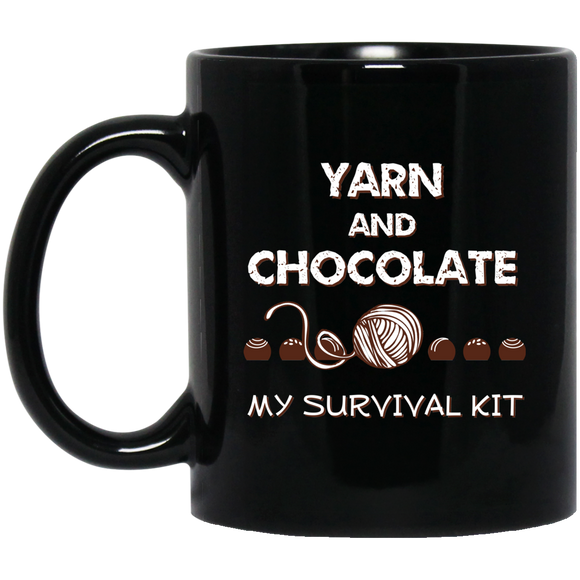 Yarn and Chocolate Black Mugs