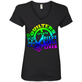 Quilters Create Piece Full Lives Ladies V-neck Tee - Crafter4Life - 3